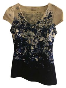 Anthropologie Floral Vintage Top Navy and white