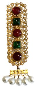Chanel Red & Green Gripoix Dress Fur Clip Brooch Faux Seed Pearls
