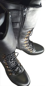 Report Signature Moto Leather Martens Knee High Lace Up Oil Black Boots