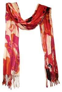 Aimee Lynn Abstract Floral Lightweight Scarf with Knotted Fringe