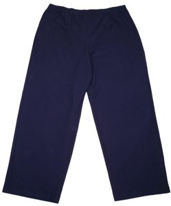 Eileen Fisher Navy Viscose Crepe Stretch Straight Pants