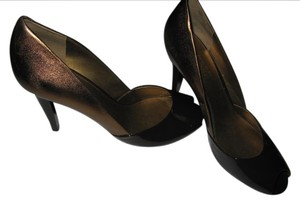 Ralph Lauren Leather Leather Open Toe High Heel Classic & Stylish Expresso Brown Patent & Bronze Metallic Pumps