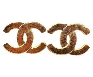 Chanel Vintage Chanel Gold Plated Sand Texture Large Clip on Earrings