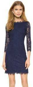 Diane von Furstenberg Lace Shift Sheath Cut-out Longsleeve Dress