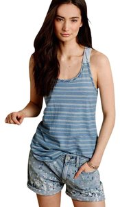 Anthropologie Stripe + Solid Top NWT Blue