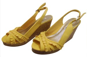 American Eagle Outfitters Peep Toe Sandal Yellow Wedges