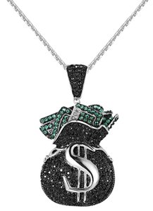 Other Iced Out Money Bag Pendant Free Steel Necklace 24 Inch Hip Hop