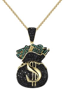 Other Hip Hop Money Bag Tank Pendant Black Green Simulated Diamond Iced Out