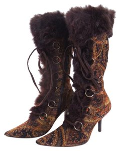 Bakers Womens Point Toe Steampunk Velvet Paisley Boots