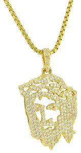 Other Ghost Jesus Pendant 14k Yellow Gold Plated Iced out Lab Diamonds 24 In