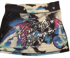 Christian Audigier Mini Skirt blue, white, pink, black