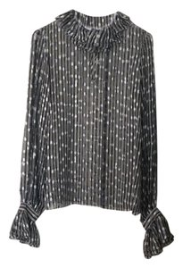 Rachel Zoe Top Multi color black, light blue and beige.