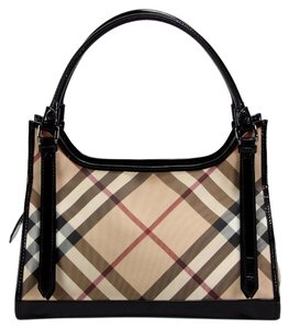 Burberry Novacheck Tote Handbag Leather Shoulder Bag
