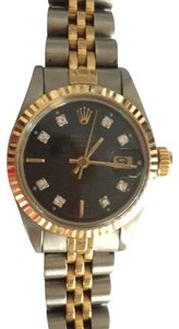 Rolex Just Polished - Rolex Date just 2 tone black dial with diamonds