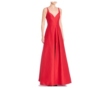 Halston Heritage Solid Pleated Red Gown Dress
