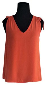 Ann Taylor LOFT Sleeveless Ruched Top Coral