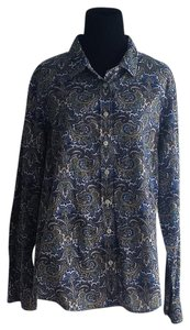 J.Crew Paisley Button Down Shirt Blue Yellow