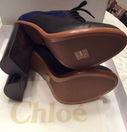 Chloé Felt Leather Lace White Stitch Bordering Wood Sole Wedlock Heel Blue and Black Boots