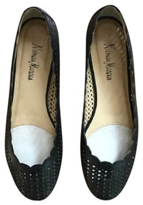 Neiman Marcus Perforated Leather Black Flats