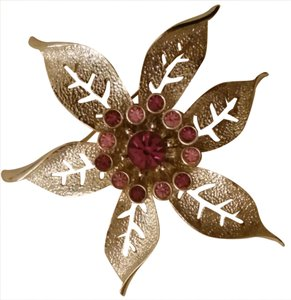 Sarah Coventry Silver toned flower with pink broach