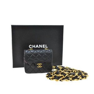Chanel Vintage Black Quilted Lambskin Pouch w/ Chain Belt