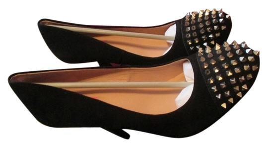 Betsey Johnson Size Black Suede Spike Pumps