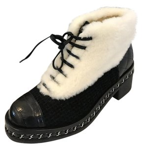 Chanel Tweed Lace Up Nutria Fur Chain Black/White Boots