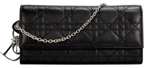 Dior authentic DIOR LADY CANNAGE on Chain WOC Flap Black Leather Wallet