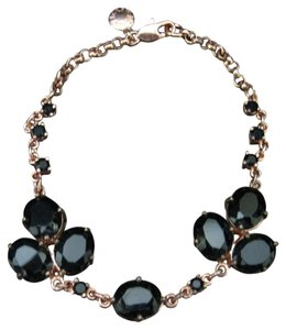 J.Crew J.Crew Rose Gold Bracelet with Black Glass Stones
