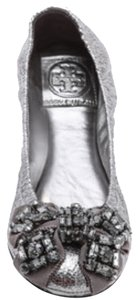 Tory Burch Metallic Silver Flats