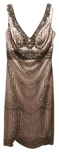 Sue Wong Art Deco Gold Formal Scoop Back Prom Dress