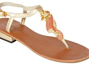 Diana E Kelly Metallic gold with coral and rhinestones details Sandals