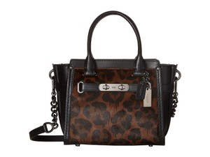 Coach Adjustable Detachable Cross-body Satchel in Black/ wild beast