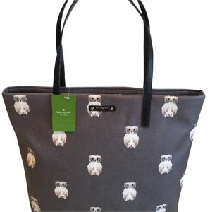 Kate Spade Tote in Grey with Owl Print