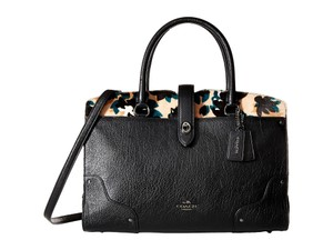 Coach Adjustable Detachable Cross-body Satchel in Black/ scattered leaf