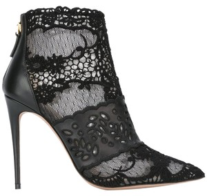 Valentino Ankle Lace Tulle Cutout Black Boots