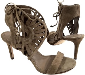 Tory Burch Suede Laser Cut Detail Strap Bands Lace-up Side Imported RIVER ROCK Sandals