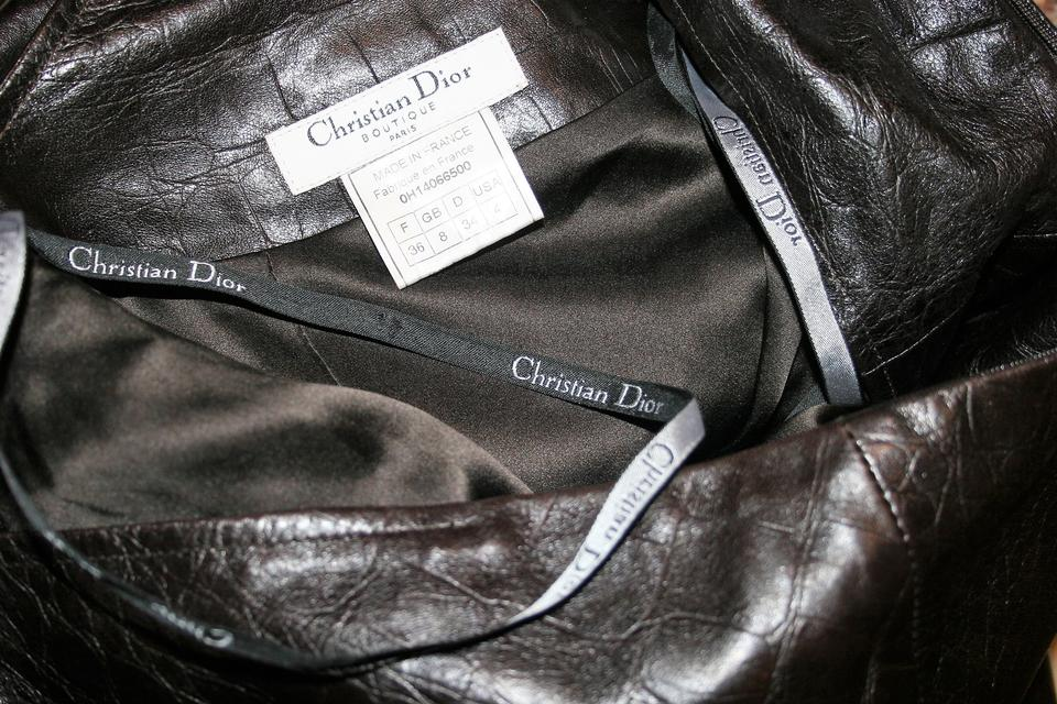 69e43715e Dior Brown  Christian-dior-boutique-paris-leather-dress-made-in-france-size-usa-4 Short  Night Out Dress Size 4 (S)