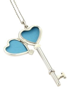 Tiffany & Co. Tiffany & Co. Heart Key Locket Sterling Silver Pendant & Chain