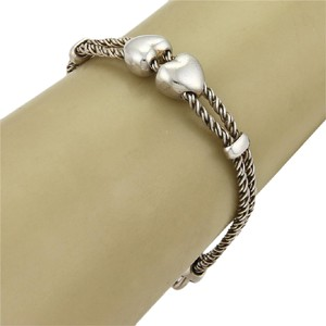 Tiffany & Co. Tiffany & Co. Sterling Silver Hearts Double Cable Slide Rope Bracelet