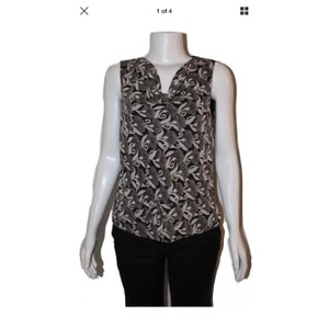 Ann Taylor LOFT Top Black & White Floral