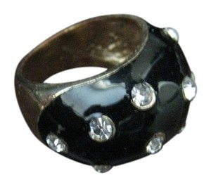 Club Monaco Club Monaco Black Enamel Ring with Rhinestone details