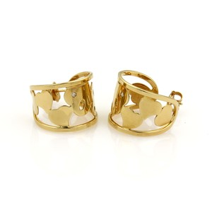Roberto Coin 20122 - Diamond 18k Yellow Gold Hearts Open Wide Hoop Earrings