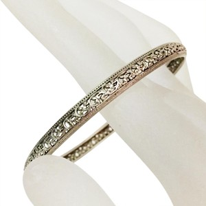 Other vintage unmarked sterling silver Victorian filigree bangle bracelet