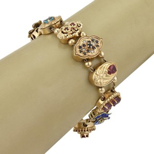 Modern Vintage Estate Assorted Multi-Color Gemstone Enamel 14k Gold Slide Bracelet