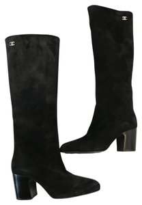 Chanel Cc Suede Black Boots