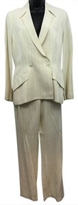 Thierry Mugler Thierry Mugler Brown Striped Beige Linen Pant Suit 40