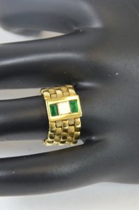 Princess Cut Genuine Diamonds & Baguette Emerald On 14k. Solid Yellow Gold Flexible Chain Ring Size 6 On Sale