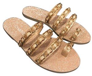 Chanel Glitter Chain Logo Slide gold Sandals
