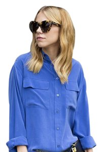 Equipment Silk Button Down Shirt Blue